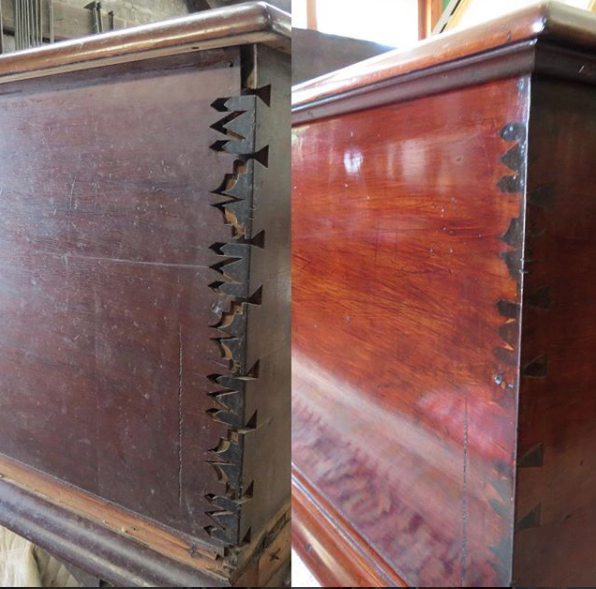 Before and after of antique trunk